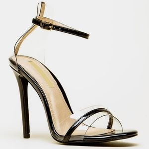 Black heels clear strap